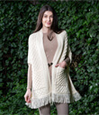 Fringed Shawl with Pockets Made of Merino Wool Natural White Gaelsong