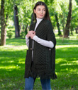 Fringed Shawl with Pockets Made of Merino Wool Army Green Gaelsong