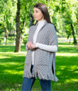 Fringed Shawl with Pockets Made of Merino Wool Gray Gaelsong