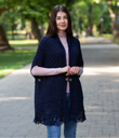 Fringed Shawl with Pockets Made of Merino Wool Navy Blue Gaelsong