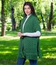 Fringed Shawl with Pockets Made of Merino Wool Green Gaelsong