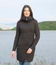 Traditional Aran Double Collar Full Zip Long Cardigan Made of Merino Wool Charcoal Gaelsong