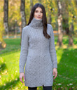 Traditional Aran Double Collar Full Zip Long Cardigan Made of Merino Wool Gray Gaelsong