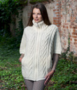 Zip Poncho with Funnel Neck Made of Merino Wool Natural White Gaelsong