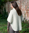 Zip Poncho with Funnel Neck Made of Merino Wool Natural White Back Gaelsong