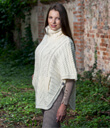 Zip Poncho with Funnel Neck Made of Merino Wool Natural White Side Gaelsong