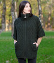 Zip Poncho with Funnel Neck Made of Merino Wool Army Green Gaelsong