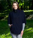 Zip Poncho with Funnel Neck Made of Merino Wool Navy Blue Gaelsong