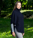 Zip Poncho with Funnel Neck Made of Merino Wool Navy Blue Side Gaelsong