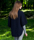 Zip Poncho with Funnel Neck Made of Merino Wool Navy Blue Back Gaelsong