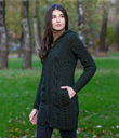 Stand-Up Collar Zip Hoodie Cardigan Made of Merino Wool Army Green Gaelsong