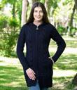 Stand-Up Collar Zip Hoodie Cardigan Made of Merino Wool Navy Blue Gaelsong
