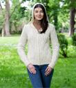 Aran Knitted Full Zip Cardigan with Hood Made of Merino Wool Natural White Gaelsong