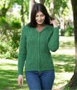 Aran Knitted Full Zip Cardigan with Hood Made of Merino Wool Green Gaelsong