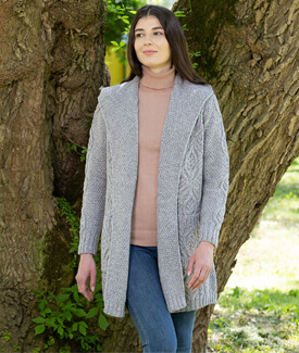 Long Open Cardigan with Hood