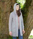 Traditional Aran Classic Fit Cable Knit Long Cardigan With Hood Made of Merino Wool Gray Gaelsong