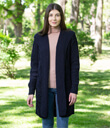Traditional Aran Classic Fit Cable Knit Long Cardigan With Hood Made of Merino Wool Navy Blue Gaelsong