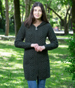 Traditional Aran Long Cable Knit Full Zip Cardigan with Hood Made of Merino Wool Army Green Gaelsong