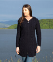 Traditional Aran Long Cable Knit Full Zip Cardigan with Hood Made of Merino Wool Navy Blue Gaelsong