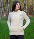 Side Zip Moto Sweater Cardigan Made of Merino Wool Natural White Gaelsong