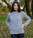 Side Zip Moto Sweater Cardigan Made of Merino Wool Gray Gaelsong