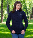 Side Zip Moto Sweater Cardigan Made of Merino Wool Navy Blue Gaelsong