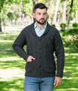Mens Shawl Collar Cardigan Made of Merino Wool Charcoal Gaelsong