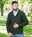 Mens Shawl Collar Cardigan Made of Merino Wool Army Green Gaelsong
