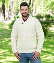 Shawl Collar Sweater for Men Made of Merino Wool Natural White Gaelsong