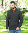 Shawl Collar Sweater for Men Made of Merino Wool Charcoal Gaelsong