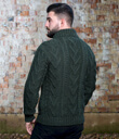 Shawl Collar Sweater for Men Made of Merino Wool Army Green Back Gaelsong