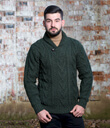 Shawl Collar Sweater for Men Made of Merino Wool Army Green Gaelsong