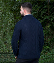 Shawl Collar Sweater for Men Made of Merino Wool Navy Blue Back Gaelsong