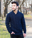 Shawl Collar Sweater for Men Made of Merino Wool Navy Blue Gaelsong