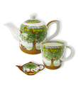 Celtic Tree Of Life Tea Collection Set of Teapot Mug and Teabag Holder Made of Bone China White Green Gaelsong