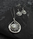 Child Of The Moon Pendant and Earrings Set Made of Sterling Silver Mother of Pearl and Cubic Zirconia Gaelsong