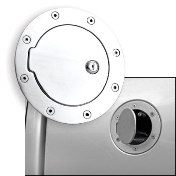 FUEL DOOR - POLISHED ALUMINUM - LOCKING  ('10-'12)