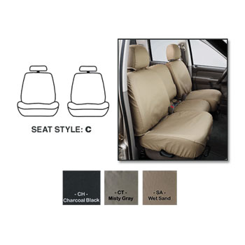 SEAT SAVERS - FRONT - COVERCRAFT ('10-'12, MEGA/CREW/QUAD/REG - BUCKETS W/ADJUSTABLE HEADREST - ST & SLT - NOT LARAMIE)