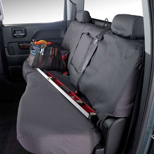 SEAT SAVERS - REAR - COVERCRAFT ('11-'19, CREW/QUAD - 60/40 SPLIT SEATS W/3 ADJUSTABLE HEADRESTS - W/FOLD DOWN ARMREST)