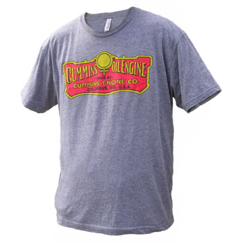 T-SHIRT - CUMMINS VINTAGE OIL ENGINE - GREY