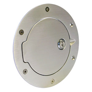 FUEL DOOR - BRUSHED ALUMINUM - LOCKING ('13-'20, 2500/3500 & '13-'18, 1500)