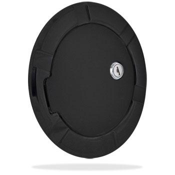 FUEL DOOR - FLAT BLACK ALUMINUM - LOCKING  ('94-'12)