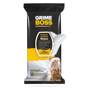 GRIME BOSS HAND WIPES - 30 COUNT