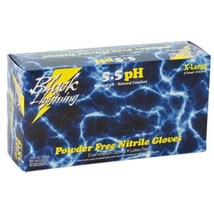 BLACK LIGHTNING NITRILE DISPOSABLE GLOVES - X-LARGE (BLACK)