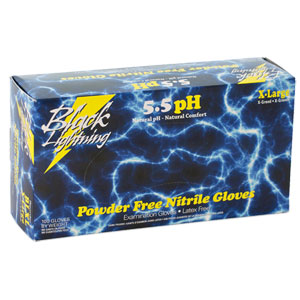 BLACK LIGHTNING NITRILE DISPOSABLE GLOVES - XX-LARGE (BLACK)