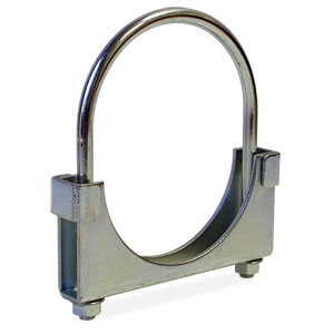 "EXHAUST PIPE CLAMP - HD ROUND BAND, DBL SADDLE (4"" DIA)"