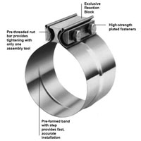 """TORCTITE SS PREFORMED LAP JOINT EXHAUST PIPE CLAMP (3.5"""" DIA.)"""