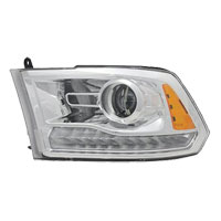 HEADLIGHT - HALOGEN PROJECTOR W/CHROME BEZEL - DRIVER SIDE ('13-'18)