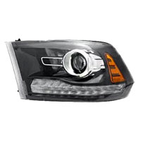 HEADLIGHT - HALOGEN PROJECTOR W/BLACK BEZEL, CHROME PROJ. RING - DRIVER SIDE ('13-'18)