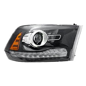 HEADLIGHT - HALOGEN PROJECTOR W/BLACK BEZEL & CHROME PROJ. RING - PASSENGER SIDE  - DEPO ('13-'18)